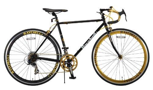 Raychell+(レイチェルプラス) ロードバイク 700C R+713 GolDragon クロモリフレーム シマノ14段変速 フレームサイズ520mm・コイルワイヤー錠/前後シリコンLEDライト付属 ブラック/ゴールド