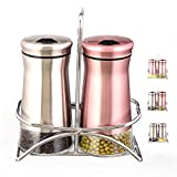 SILUKER Salt and Pepper Shaker Sets with Stand - Modern Kitchen Stainless Steel Spice Shakers with Adjustable Pour Holes + BONUS FREE Wooden Cooking Spoon(Silver & Rose Red)