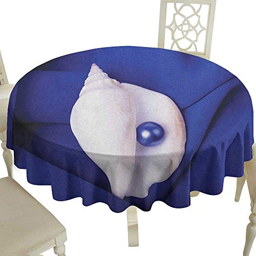 (Cranekey Gingham Round Tablecloth 36 Inch Pearls,Exotic Shell with Pearl Collection Undersea Treasure Discovery Leisure Picture Print Blue White for Home,Party,Wedding & More)