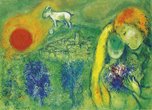Marc Chagall - The Lovers of Vence, Size 18x24 inch, Poster Art Print Wall décor