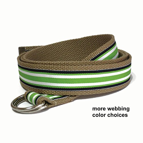 Striped Ribbon Belt (Mens Canvas Belt / Striped Ribbon Belt / Blue and Green D-Ring Belt Preppy Webbing Belt for boys teens men and Big & Tall (Surfboard Stripe))