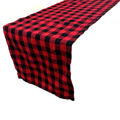 LGHome Red and Black Buffalo Check Table Runner