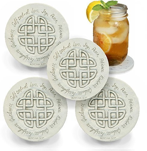 Drink Coasters by McCarter Coasters, Fruits of the Spirit, Absorbent, Light Beige 4.25 inch (4pc)