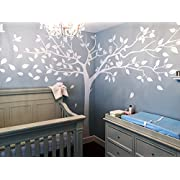 PopDecors - Super Big Tree White-133inch W - Beautiful Tree Wall Decals for Kids Rooms Teen Girls Boys Wallpaper Murals Sticker Wall Stickers Nursery Decor Nursery Decals PT-0129-WHT