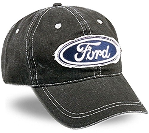 Baseball Racing Cap Hat (Ford Fabric Patch Dark Grey Cotton Cap)