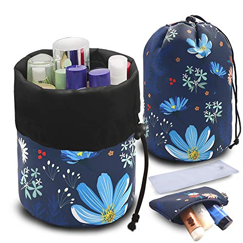 UYRIE Portable Makeup Toiletry Cosmetic Travel Organizer Bag, Large Drawstring Hanging Packing Bag for Women Girl Men, Lightweight Multifunctional Barrel Shaped Storage Bag Blue Flower
