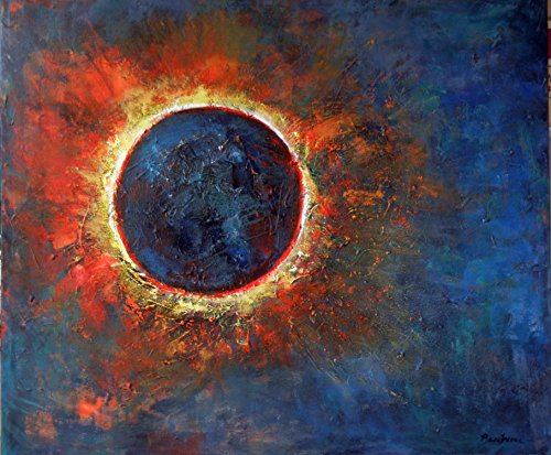 Solar Eclipse Abstract Painting Original art Sun Moon on Canvas 36x30 Art by BenWill by BenWill