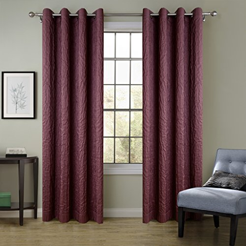 ChadMade VERSUS Solid Wrinkle Double Layers Blackout Insulated Thermal Lined Curtain Burgundy