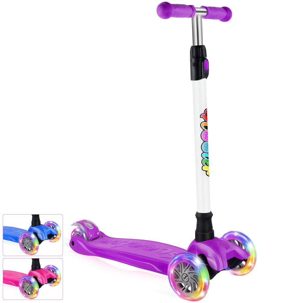 BELEEV Kick Scooter for Kids 3 Wheel Scooter for Toddlers Girls & Boys, 4 Adjustable Height, Lean to Steer with PU LED Light Up Wheels for Children from 3 to 14 Years Old (Purple) by BELEEV