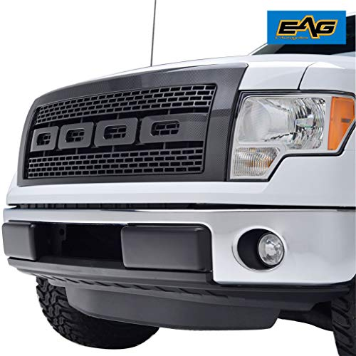 (EAG 09-14 Ford F-150 Raptor Grille ABS Replacement Grill With Shell Carbon Fiber Look)