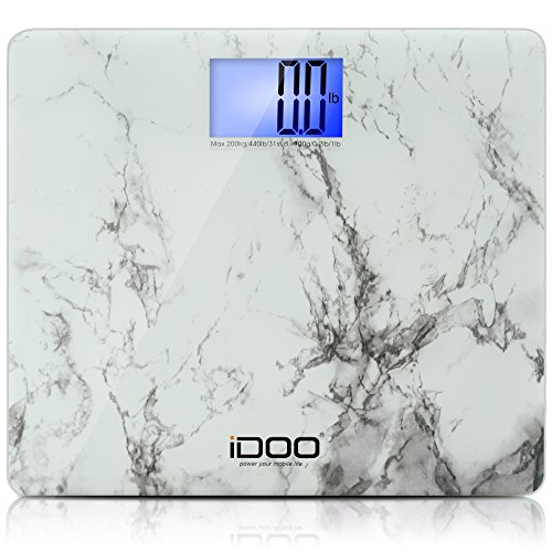 [iDOO High Precision Digital Bathroom Scale 440lb 200kg Extra Wide 19 inch Oversize Jumbo Steady Platform with Large Backlit LCD Display] (Heavy Duty Digital Scale)
