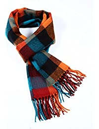 Softer than Cashmere Wool Touch Tassel Ends Plaid Check Solid Scarf