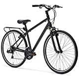sixthreezero Pave n' Trail Men's 21-Speed Hybrid Road Bicycle, Matte Black 26″ Wheels/ 18″ Frame