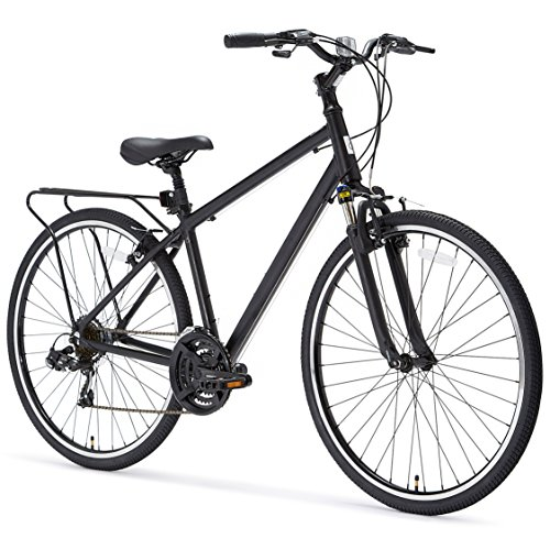 sixthreezero Pave n' Trail Men's 21-Speed Hybrid Road Bicycle, Matte Black 26