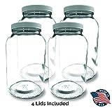 1-GALLON Glass Jar Wide Mouth (4 PACK) – MADE IN USA – 128oz Mason Jar with Lids – Used for Canning Fermenting Kombucha Kefir Yogurt BPA Free
