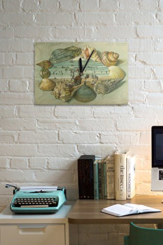 Point-Pleasant-Beach-New-Jersey-A-Scenic-View-Bordered-with-Sea-Shells-10×15-Wood-Wall-Clock-Decor-Ready-to-Hang