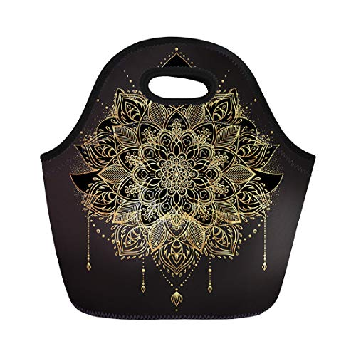 - Semtomn Lunch Tote Bag Ornamental Lotus Flower Ethnic Patterned Indian Paisley Golden Flash Reusable Neoprene Insulated Thermal Outdoor Picnic Lunchbox for Men Women