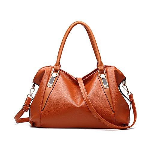 grande PU bolsa messenger bolso Dama Suave moda casual Cuero Tisdaini mano Amarillo hombro bolso bag YAqxnzO