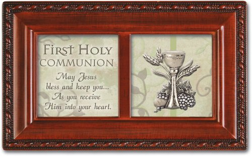 Cottage Garden First Holy Communion Inspirational Woodgrain Petite Music Box Plays Ave Maria