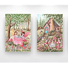 Girls Fairy Bedroom, Set Of 2 Thick Wrapped Canvases, Tea Party, Custom Girl's Name & Hair Color, Enchanted Forest Cottage