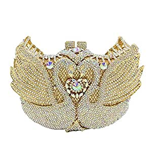 Ladies Banquet Wedding Bride Clutch Bag swan Rhinestone Crystal Party Evening Dress Bag Shoulder Bag Messenger Bag Ladies Wallet Size: 18 * 12 * 5.5cm Fashion (Color : Gold)
