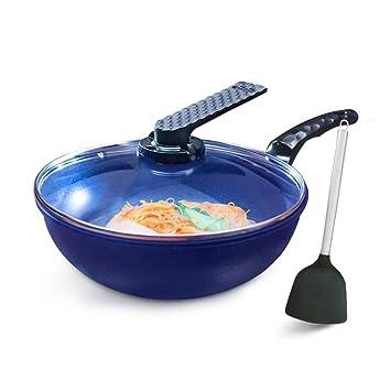 Wok de aleación de aluminio azul con tapa de vidrio, wok de fondo plano antiadherente