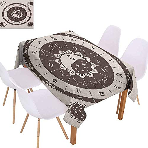 Marilec Wrinkle Resistant Tablecloth Constellation Zodiac Signs Circle with Sun and Moon Floral Design Ancient Astrology Soft and Smooth Surface W59 xL71 Dark Brown Cream -