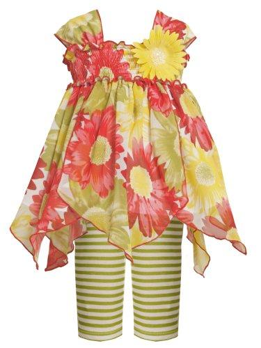 Bonnie Jean Little Girls Asymmetric Hanky Hem Floral Print Chiffon Dress/Legging Set, Green, - Hem Chiffon Hanky Dress