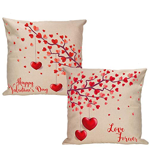 VILIGHT Valentines Day Decoration Throw Pillow Covers with Hearts - Couples Pillow Cases Set of 2-18 x 18 Inch (Love Tree