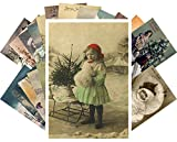 Vintage Christmas Greeting Cards 24pcs Antique Christmas Photo Postcards Reprint Postcard Set