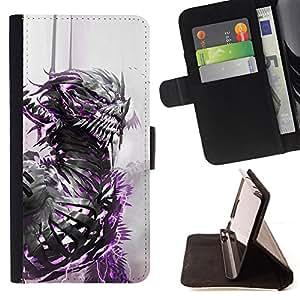 BullDog Case - FOR/Samsung Galaxy S6 EDGE / - / dragon warrior white watercolor monster /- Monedero de cuero de la PU Llevar cubierta de la caja con el ID Credit Card Slots Flip funda de cuer