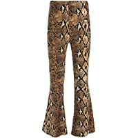 Women's Sexy Wide Leg Pants High Waist Skinny Snakeskin Bell Bottoms Flared Pants for Night Out