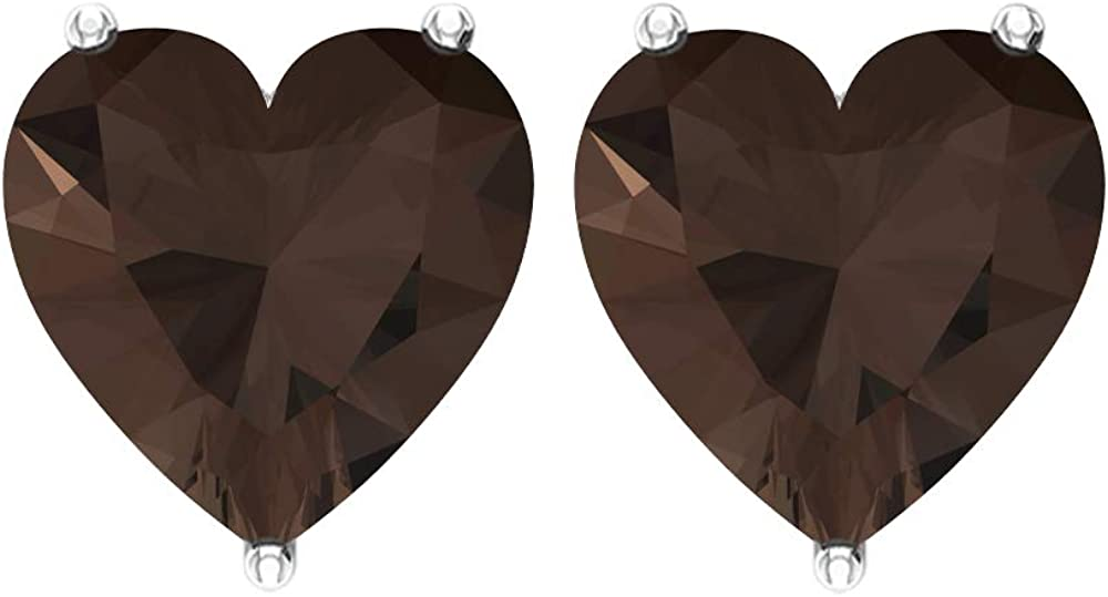 Pendientes de tuerca de oro con forma de corazón de 7 mm, con solitario de cuarzo ahumado, joyas de piedras preciosas naturales, delicados, regalo de dama de honor de boda, tornillo