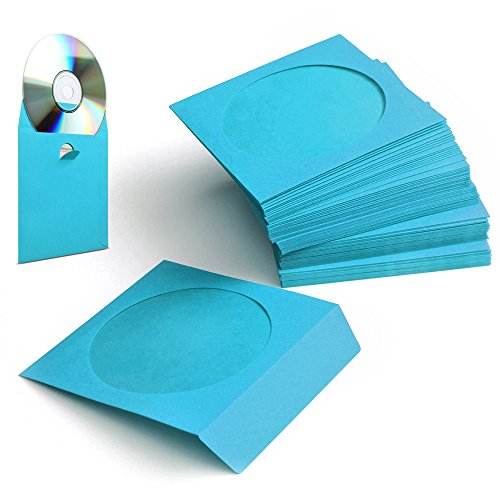 Flexzion 100 Pack CD DVD Thick Paper Sleeves Standard Envelope Cases Display Storage Premium with Window Cut Out and Flap for Music Movie Video Game Disc (Blue)