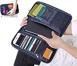 Travel Passport Wallet Organizer Multi-Pocket iPad Cellphone Card Holder Storage Bag