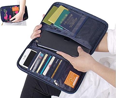Travel Passport Wallet Organizer Multi-Pocket iPad Cellphone Card Holder Storage Bag (Blackberry Passport Clip)