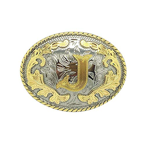 Initial Letter Belt Buckle Western Cowboy Style Rodeo Large Gold Silver Metal Buckles for Men Women (ABC-Z). … (J) ()