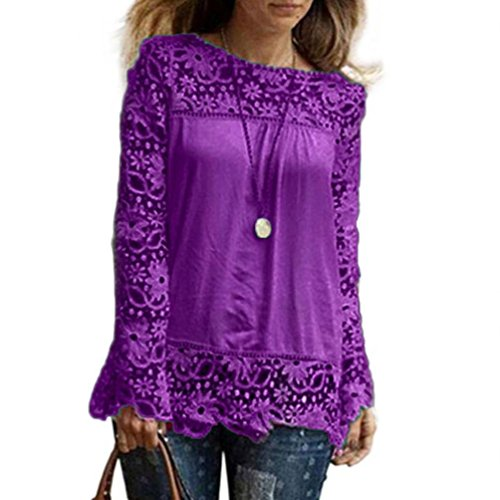 Button Chiffon Front Crinkle Shirt (Clearance Sale Womens Long Sleeve T Shirt - vermers Women Casual Lace Tops Fashion Loose Blouse(3XL, Purple))