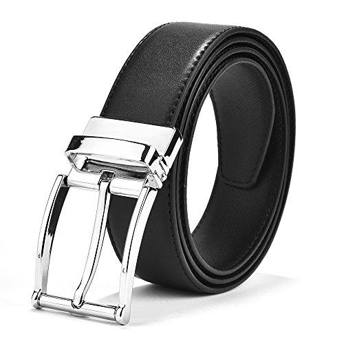 El servicio durable Cinturón de cuero negro de los hombres 2018 Recambio de  plata actualizado de d3e57a8e6e98