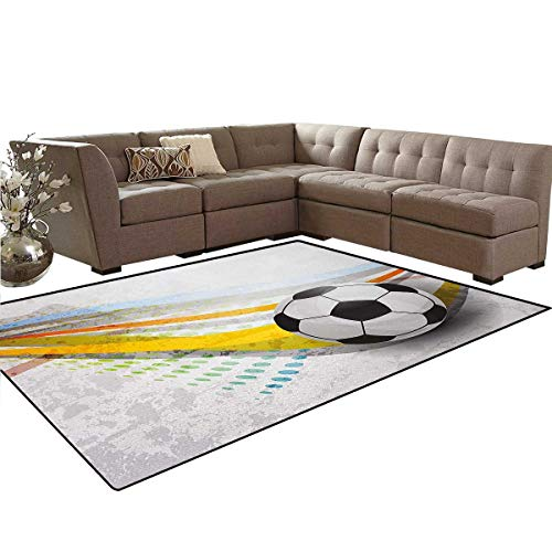 - Teen Room,Floor Mat,Soccer Background with Football Colorful Lines Sports Game with Digital Display,Anti-Skid Area Rug,Multicolor,5'x6'
