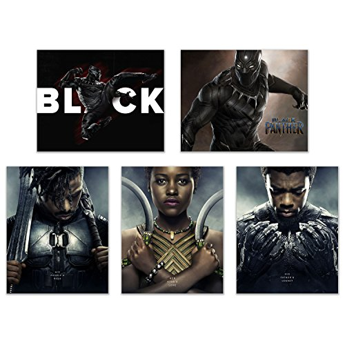 Black Panther (2018) Poster Prints - Set of Five Avengers Marvel Comics Wakanda Decor Wall Art Photos 8x10 T'Challa - Killmonger - Nakia