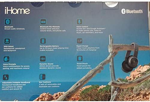 iHome iB88B Splash Proof Rugged Foldable Bluetooth Rechargeable Headphones, Black