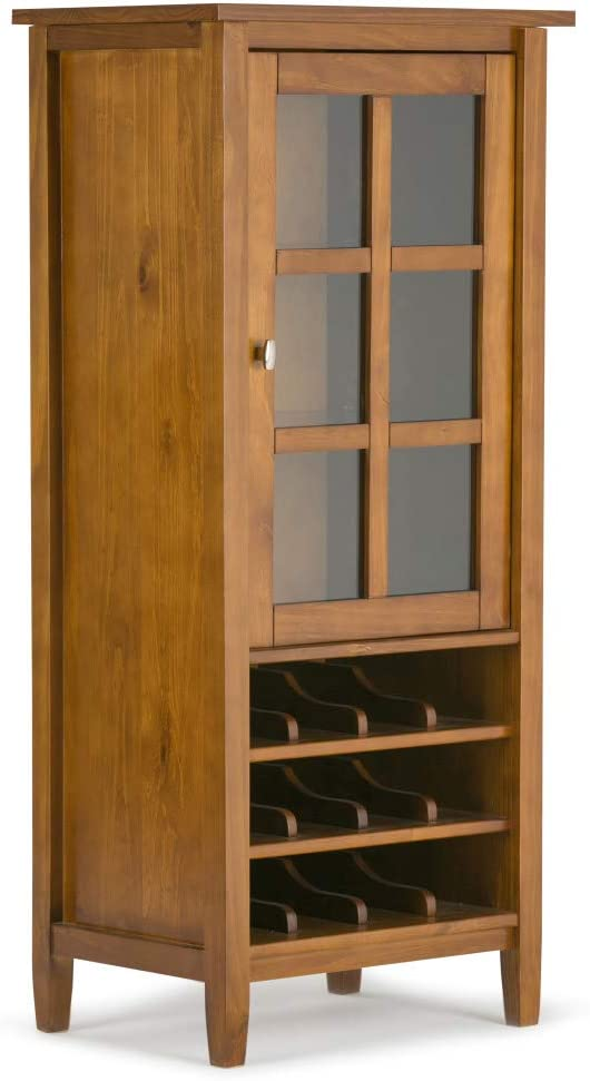 SIMPLIHOME Warm Shaker 12-Bottle SOLID WOOD 23 inch Wide Rustic High Storage Wine Rack Cabinet in Light Golden Brown