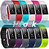 ZEROFIRE Bands Compatible for Fitbit Charge 2, Replacement Adjustable Sport Bands for Charge 2 Heart Rate Fitness Wristbands, Women Men, 12 Pack/Colors