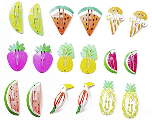 Girls Toddlers Baby Styling Snap Barrettes, Metal Hair Clips Pins with Gift Box(Fruit Pattern)