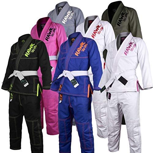 Kids Brazilian Jiu Jitsu Gi Children BJJ Gi Grappling Kimonos Lightweight Free White Belt! (K000, Black)