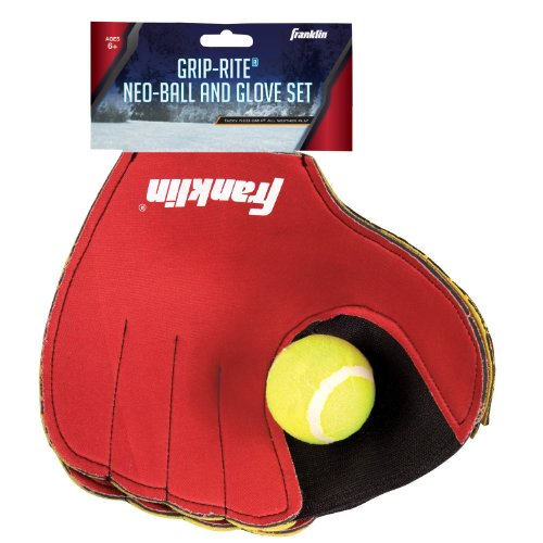 Franklin Sports Grip-Rite Neon Glove and Ball Set Sports Baseball Glove Velcro