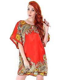 Simplicity Silky Kimono-Style Nightgown w/ Side Slits, Keyhole Neck