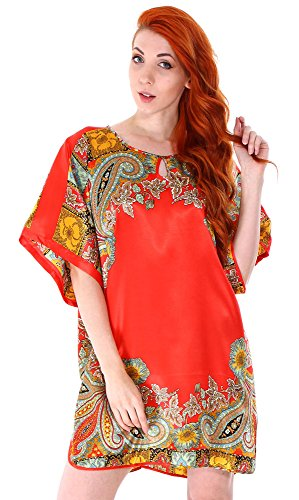 Simplicity Women's Slik Print Pajama Nightgown Dress,Batwing Sleeve,2277Red ,One Size (Dress Satin Unique Print)