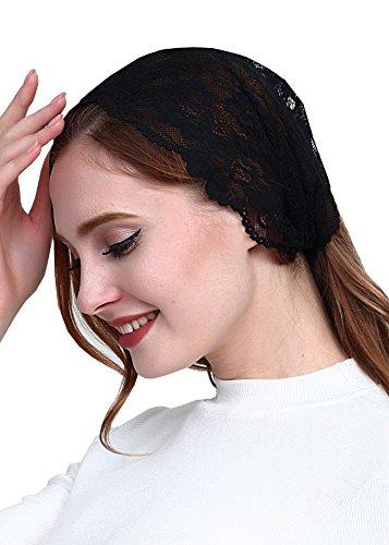 Vintage French Lace Headband Soft Headwrap Head Covering Church Veil H2 (Black)]()